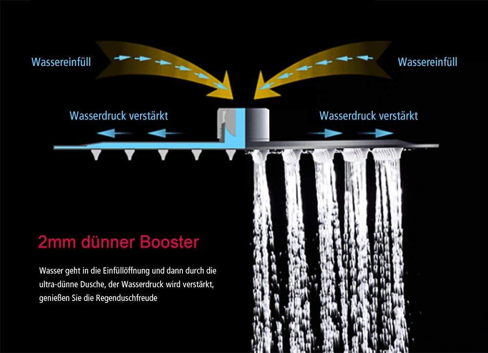 Ultra Thin Water Saving Chrome Finish Rainsworth Luxury 10 Inch Square Stainless Steel Shower Head, High Pressure
