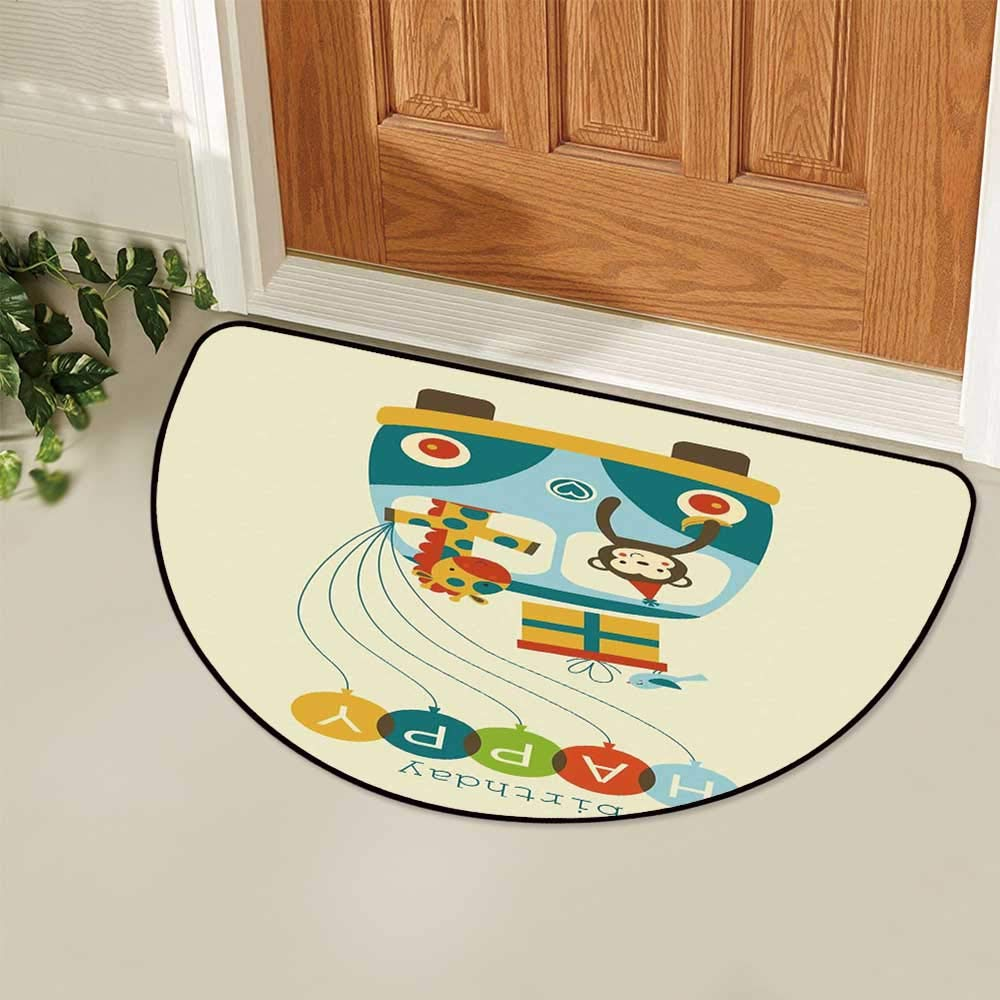 YOLIYANA Birthday Decorations for Kids Semi Circle Mat,Blue Hippie Bus with Monkeys Giraffes Balloons Surprise Box Carpet Indoor Mat,33.4'' H x 66.9'' L by YOLIYANA (Image #4)