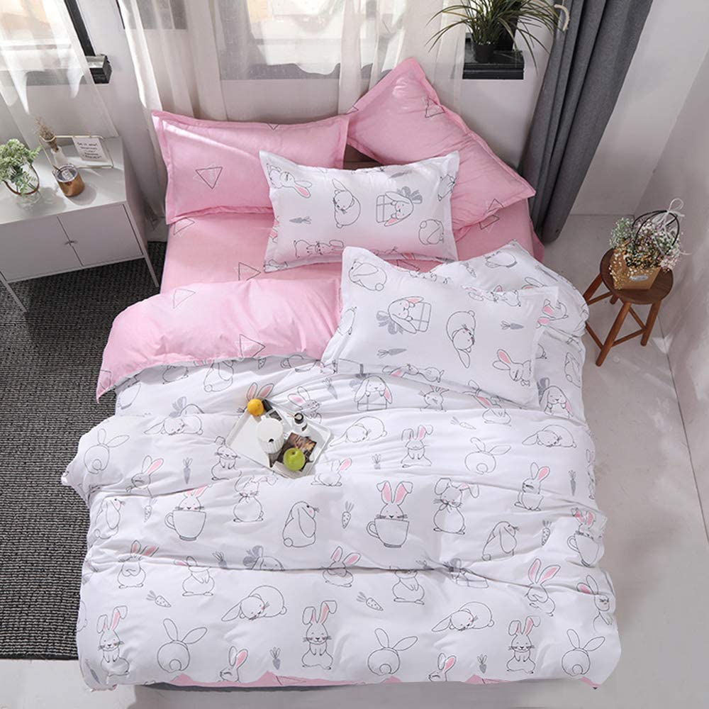 choicehot Hares Duvet Cover Sets Pink Rabbit Quilt Cover Children Adult Woods Bed Duvet Cover and Pillowcase Set Double Size