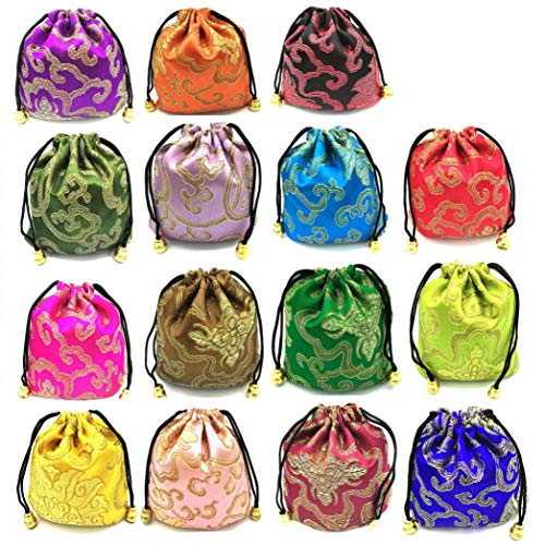 NHW 30 pcs Traditional brocade embroidered Drawstring Jewelry Bag gift bag basket pull Wallet Set 15 different colors (24)