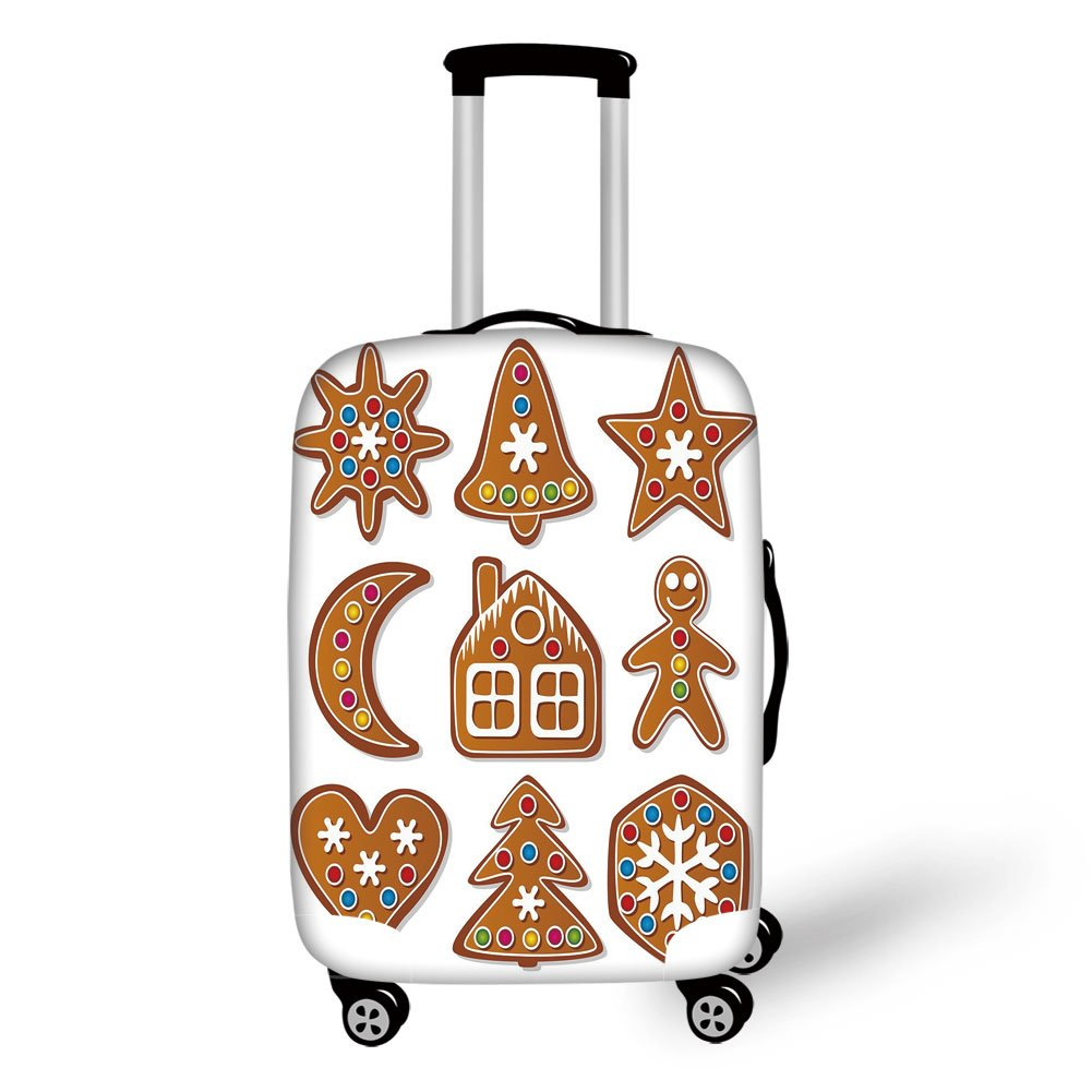 Travel Luggage Cover Suitcase Protector,Gingerbread Man,Set of Graphic Gingerbread Sugar Biscuits with Colorful Dots and Bonbons,Multicolor,for Travel