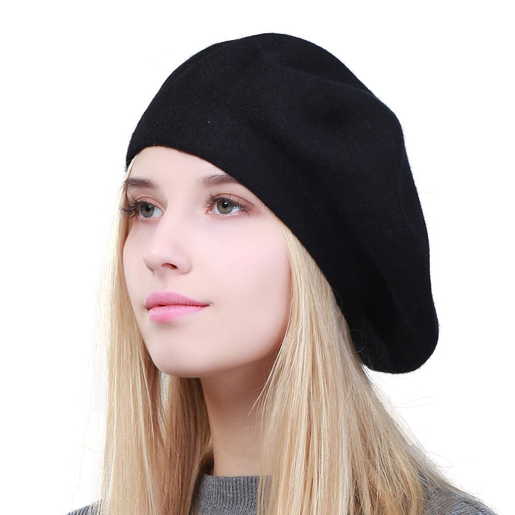 GEEBRO Hat Fashion Solid Color Warm Wool Spring Berets Women French Artist Beanie Beret Hat for Women DQ106 (Black)