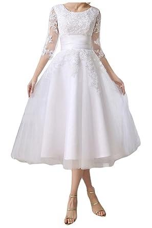 MILANO BRIDE Chic Jewel 1/2 Sleeves Tea-Length Lace Wedding Reception Dress-