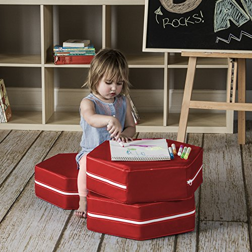 Jaxx Soft Play Hexagon Classroom Chairs (Set of 3), Vinyl, Red by Jaxx