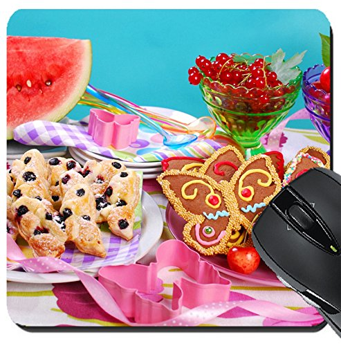 Making Puff Pastry (MSD Suqare Mousepad 8x8 Inch Mouse Pads/Mat design: 29805002 butterfly shaped gingerbread and puff pastry cookies with blueberry for children s birthday party)