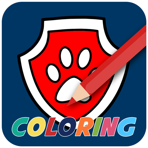 Police dog paw coloring kids -