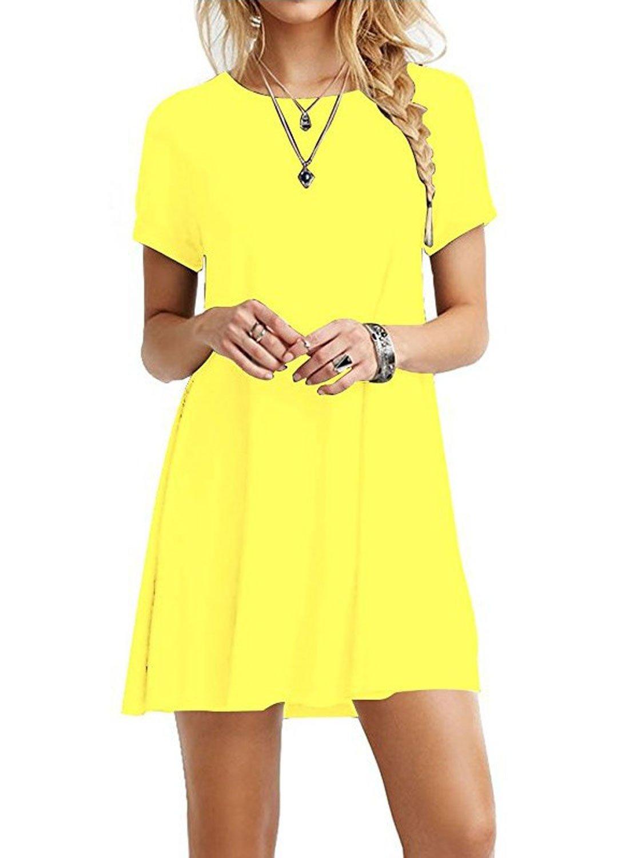 HPYLove Women's Summer Casual Plain Short Sleeve Cute Swing T-Shirt Loose Dress (Yellow, Small)
