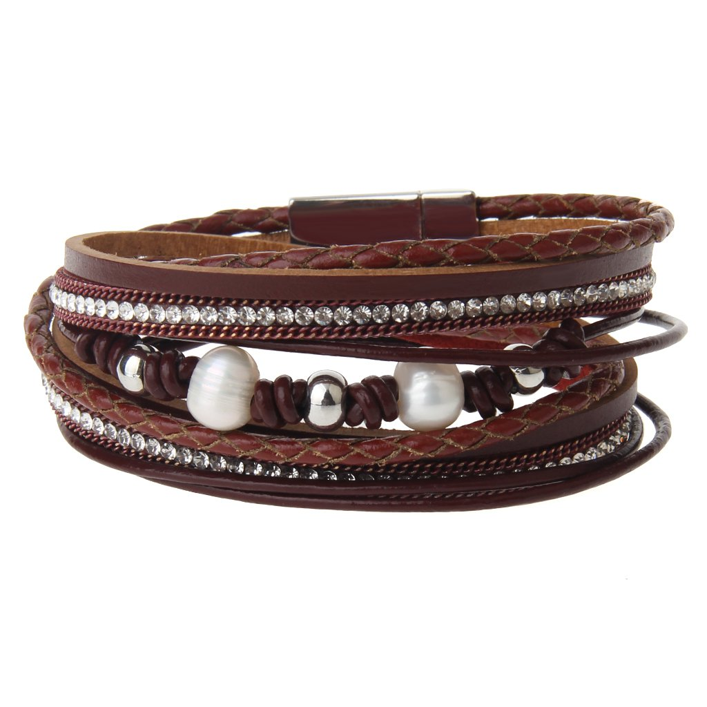 Jenia Women's Leather Braided Bracelet - Casual Rope Wrap Bangle Weave Wristband with Pearl and Crystal for Girl, Teens, Wife Gift WINWIN LPB256-red