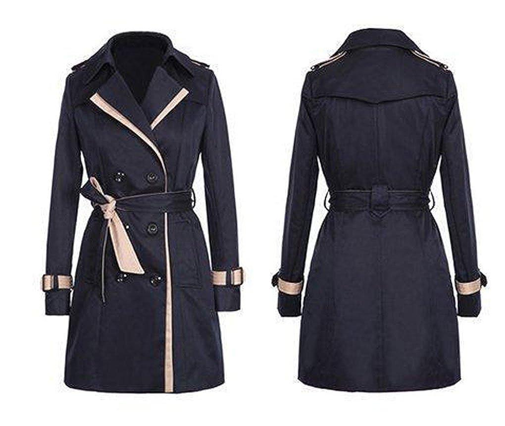 JURTEE Fashion Womens Coats Ladies Autumn Winter Lapel Double-Breasted SlimLong Trench Coat Overcoat