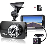 """SHISHUO Dash Cam Front and Rear - 1080P 3"""" LCD Screen Vehicle Dual Recording Cameras with 16GB Micro SD Card, Built In G-Sensor, Motion Detection, IR Light, Parking Monitoring, Reversing Backup Camera, HDR Night Vision - H21B"""