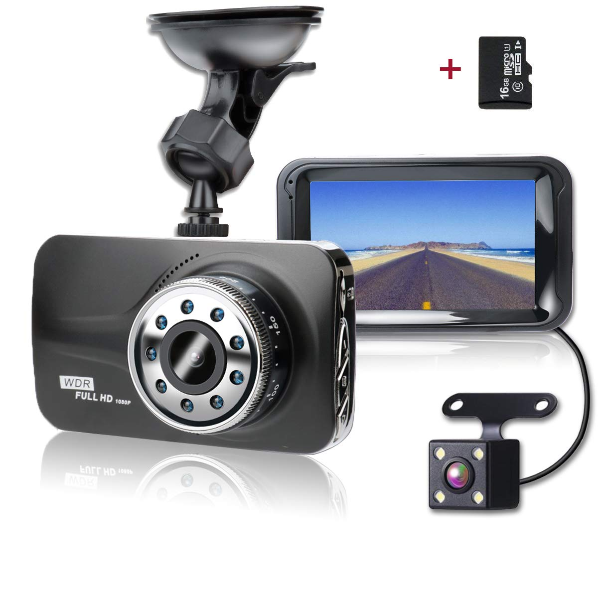 SHISHUO Dash Cam Front and Rear - 1080P 3' LCD Screen Vehicle Dual Recording Cameras with 16GB Micro SD Card, Built In G-Sensor, Motion Detection, IR Light, Parking Monitoring, Reversing Backup Camera, HDR Night Vision - H21B