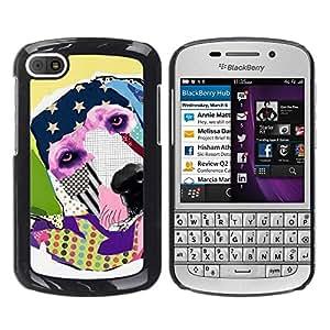 TopCaseStore / la caja del caucho duro de la cubierta de protección de la piel - Labrador Retriever America Modern Art - BlackBerry Q10