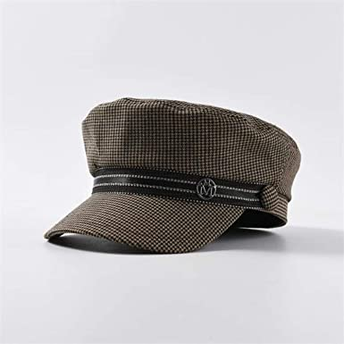 Spring New Women Newsboy Caps Houndstooth Plaid Military Hats Gorras Mujer,Coffee