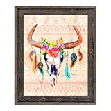 Bull Skull - Tribal Tan: Cow Skull with Roses & Feathers on Indian Blanket Wall Art Print on Canvas with Reclaimed Wood Frame