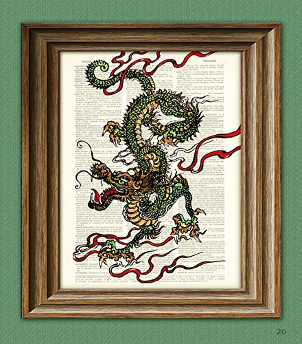 Chinese Dragon art print on vintage upcycled dictionary page book art print