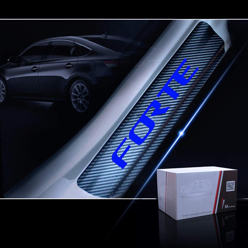 for Kia Forte Door Sill Protector Reflective 4D Carbon Fiber Sticker Door Entry Guard Door Sill Scuff Plate Stickers Auto Accessories 4Pcs Blue