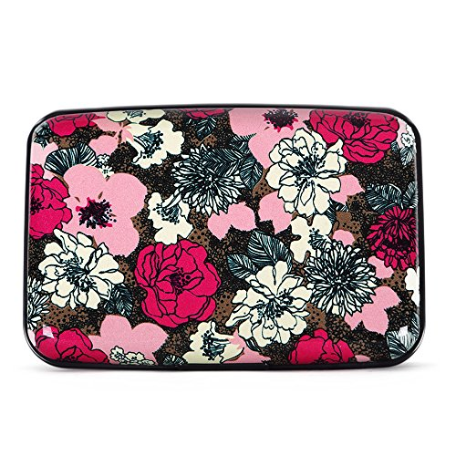 All Aluminum Case (Aluminum Wallet RFID Blocking Metal Business and Credit Card Holder Hard Case (Colorful Roses))