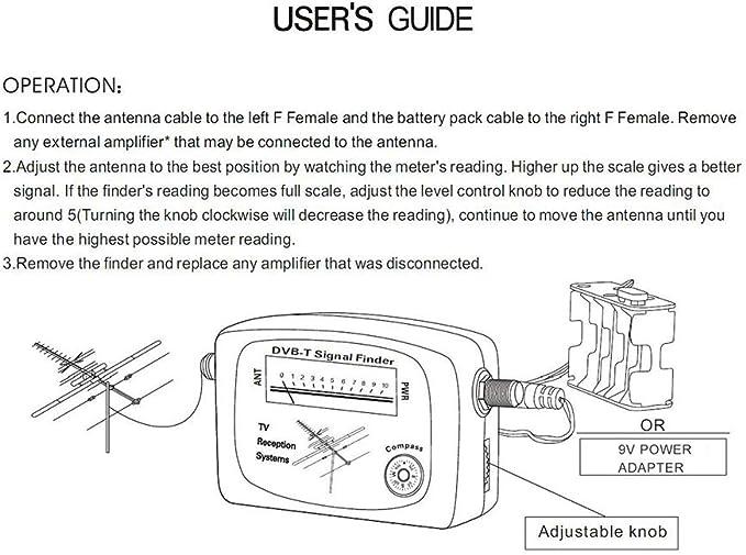 KKmoon Localizador de satélites Digital Medidor de señal DVB-T satelital digital Antena de TV terrestre aérea con sistemas de recepción de TV con ...