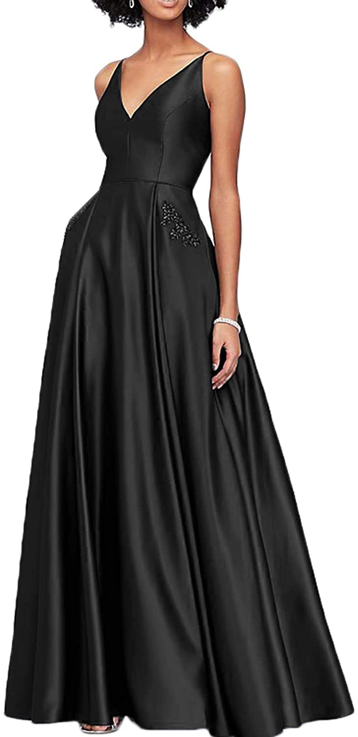 576022ad7d1 Womens V Neck Satin Beaded Prom Dresses Long 2019 A Line Backless Formal  Evening Ball Gowns with Pockets at Amazon Women s Clothing store