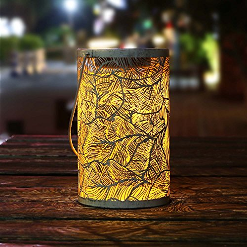 TAKEME Solar Lantern Lights,Outdoor Hanging Garden Lights Metal Feather Pattern Lights Lamp for Patio,Outside or Table (Decorating For Thanksgiving Outdoor)