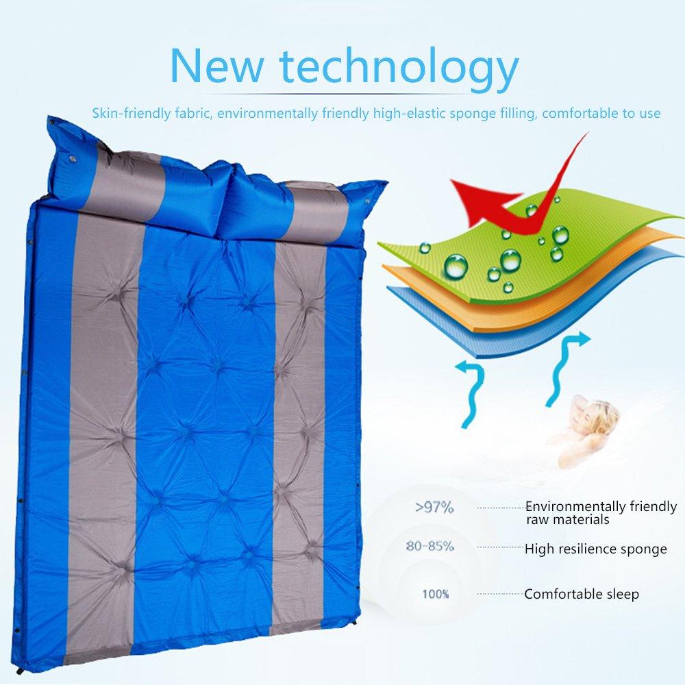 QEL erweitertes Automatisches aufblasbares Kissen, erweitertes QEL Design, Kissen und Matratzen, 2 in 1, für Outdoor-Aktivitäten, Schlafen, 190 x 132 x 3 cm a9fee1