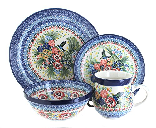 Blue Rose Polish Pottery Hummingbird 16 Piece Dinner Set