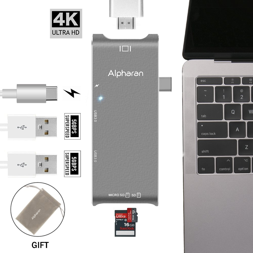 USB C Hub Multiport USB C to HDMI, USB C to USB Adapter, Apple USB C Adapter for MacBook Pro and More Type C Device with Power Delivery and SD/Micro SD Card Readers (Space Grey) by Alpharan
