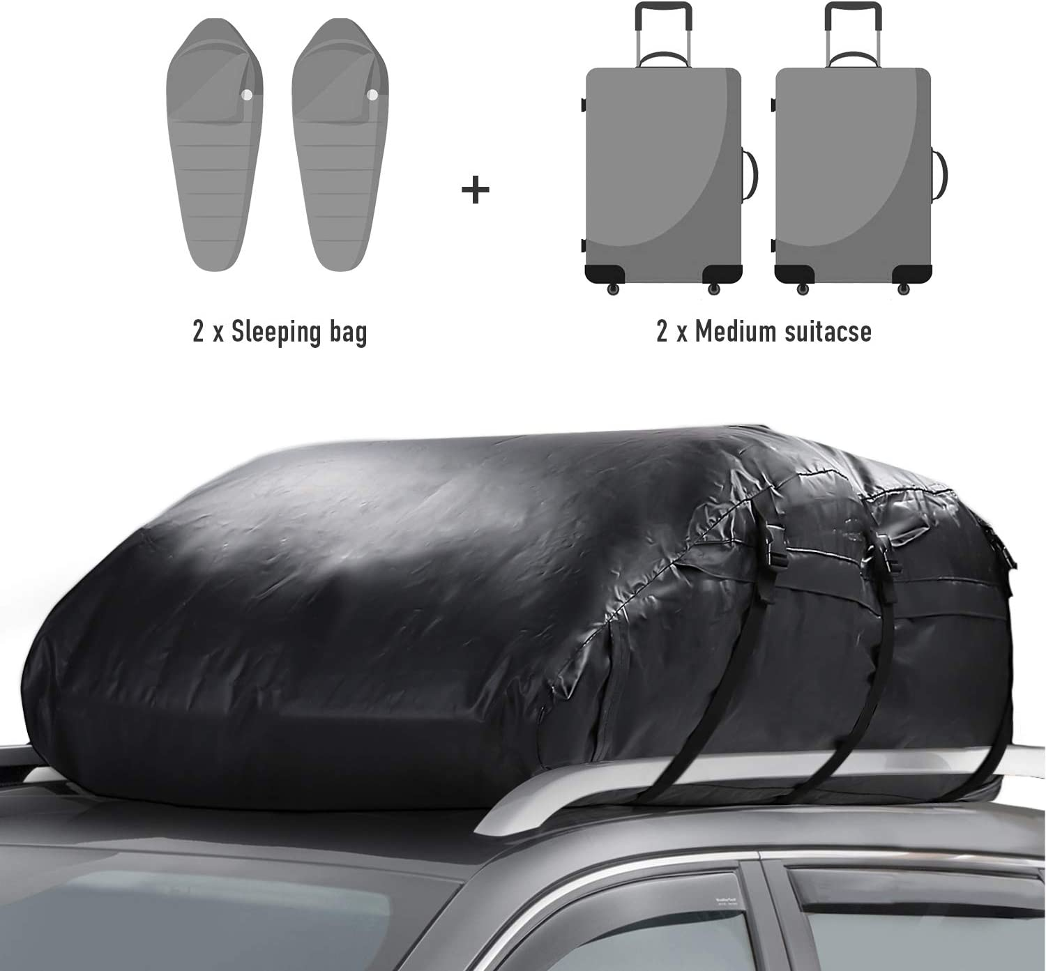 Car Top Carrier 17 Cubic Feet Waterproof Cargo Carrier Heavy Duty Traps Rooftop Cargo Carrier for All Vehicles Cargo Bag Box Storage Luggage