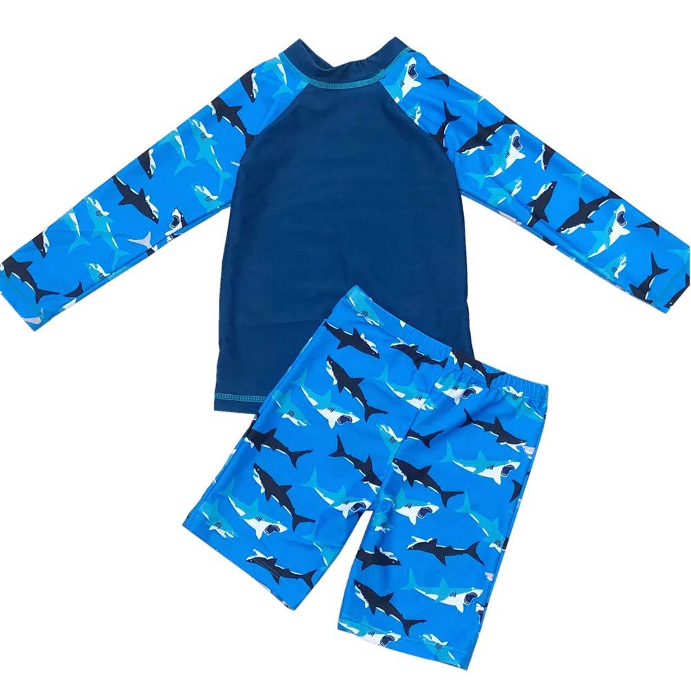 2-15t Boys Swimsuit Rash Guard Baby Kid Two Pieces Long Sleeve Swimwear Sunsuit Bathing Suit UPF 50