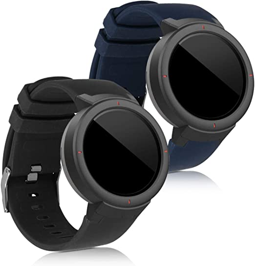 Amazon.com: kwmobile Watch Bands Compatible with Huami Amazfit Verge (Set  of 2) - Replacement Silicone Strap Band - Black/Dark Blue