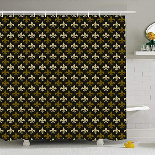 Ahawoso Shower Curtain 72x78 Inches Brass Brown Masculine Fleur De Lis Pattern Old Abstract Green Colonial Antique Black Design Medal Waterproof Polyester Fabric Set with -