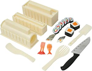 Sushi Maker Kit 11 PCS Sushi Making Kit for Beginners,Diy Sushi Making Kit With 8 Sushi Rice Roll Mold Shapes 1 Fork Home Sushi Tool Sushi Rolls