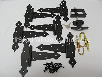 Shed Door Hardware Kit, T Hinges 6u0026quot; Fancy Decorative Hinges, T Handle,