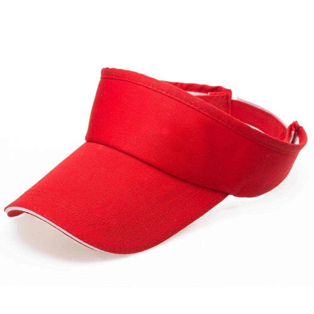 Adult Athletic Mesh Visor Men Women Sport Sun Visor Adjustable Cap (Red)