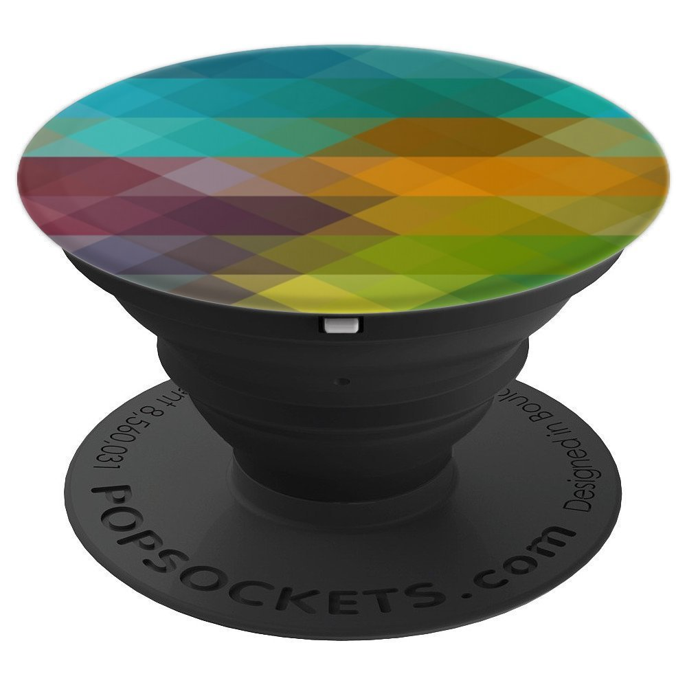 Rainbow Diamond Gem Blue Green Teal Color Geometric Pattern - PopSockets Grip and Stand for Phones and Tablets