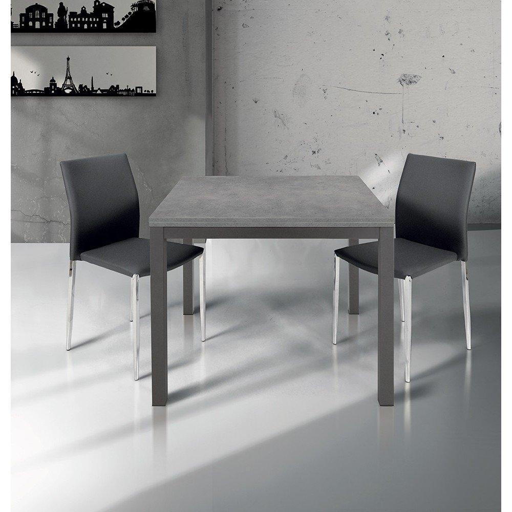 Mesa cuadrada extensible a libro 90 x 90/180 roble estructura gris ...