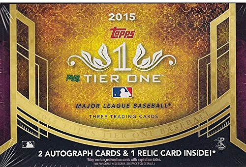 2015 Tier One Baseball Cards Hobby Box (1 pack/box, 3 cards/pack including 2 autographs and Relic Per Box - Release Date 5/20) -