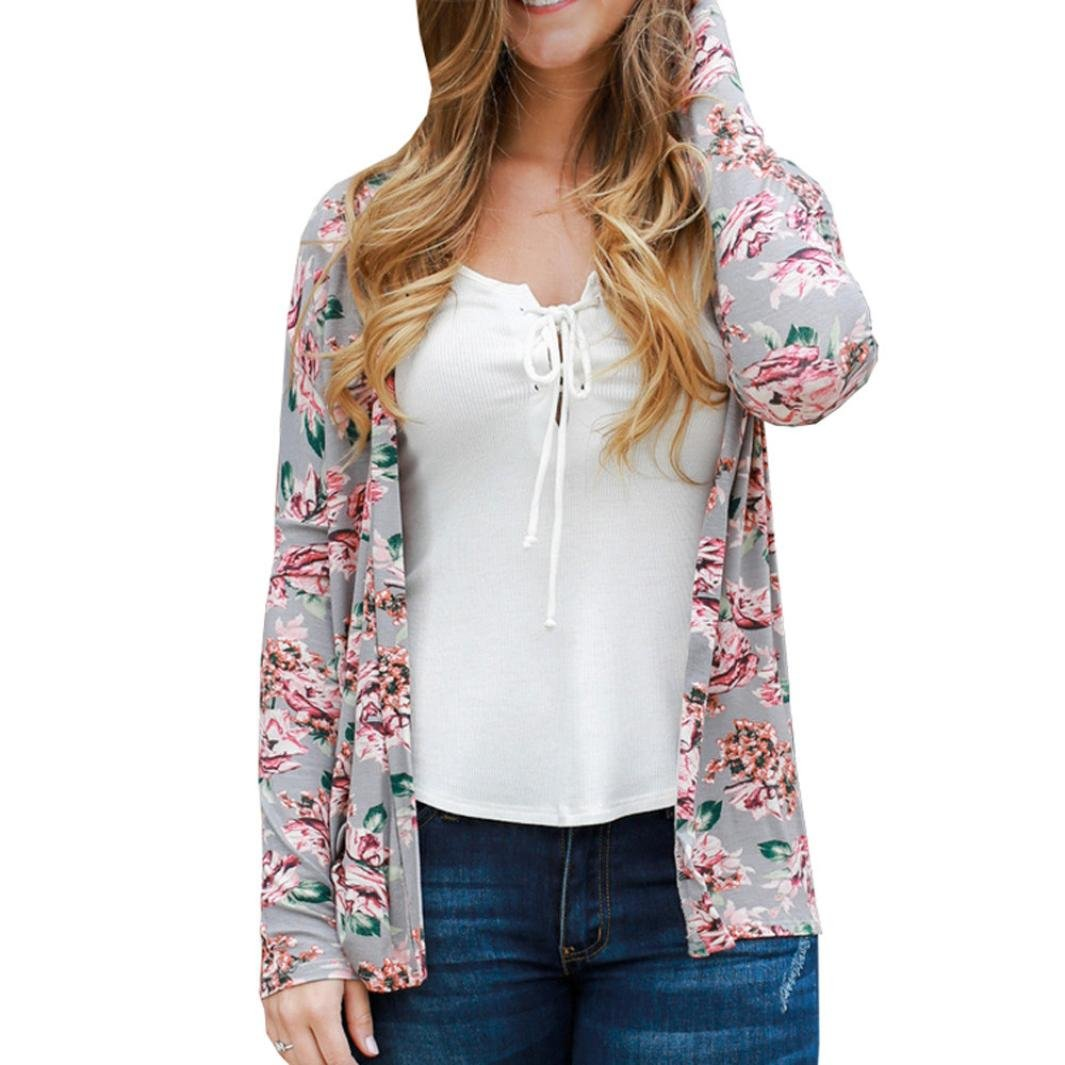 Bluester Women Floral Open Cape Casual Coat, Loose Blouse kimono Jacket Cardigan