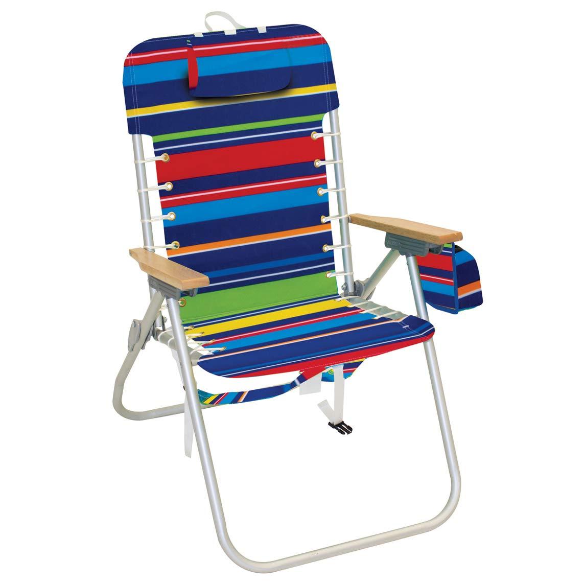 Rio Beach Hi-Boy 17'' Suspension Folding Backpack Beach Chair - Pop Surf Stripes