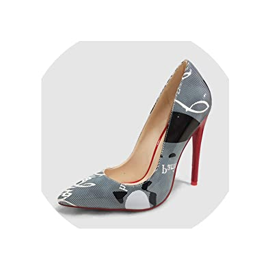 78474690c06 Amazon.com | Print Pointed Toe Lady Pumps Fake Leather Luxury Pumps ...