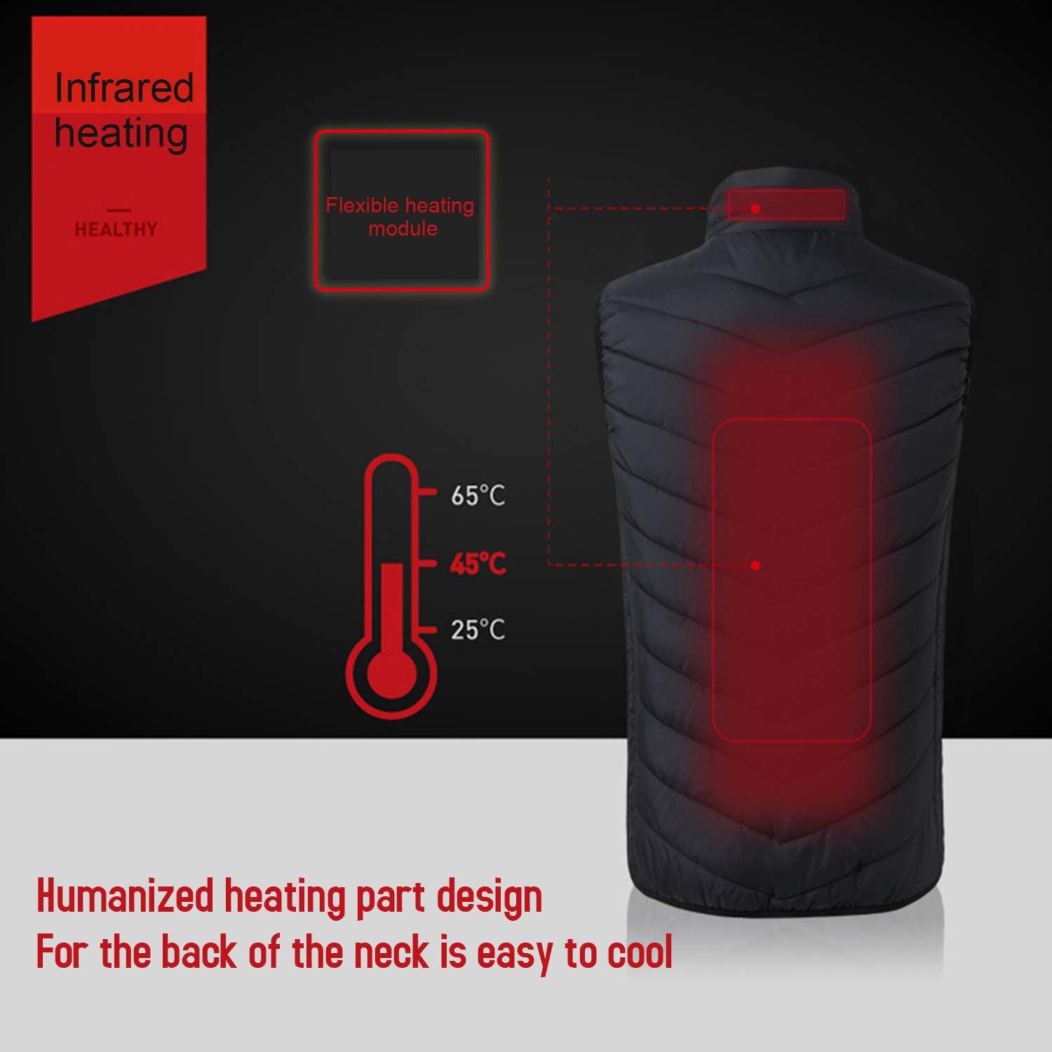 Electric USB Heated Warm Winter Vest Unisex Heating Jacket for Motorcycle Travelling Skiing Hiking S KK moon Electric Heated Vest Waterproof