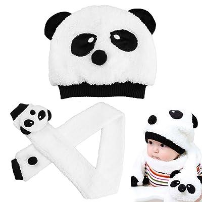 Astoreplus Kids Hat Scarf Set Baby Cute Panda Pattern Winter Warm