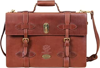 product image for Col. Littleton Full-Grain Leather Navigator Briefcase | Made in USA | Brown