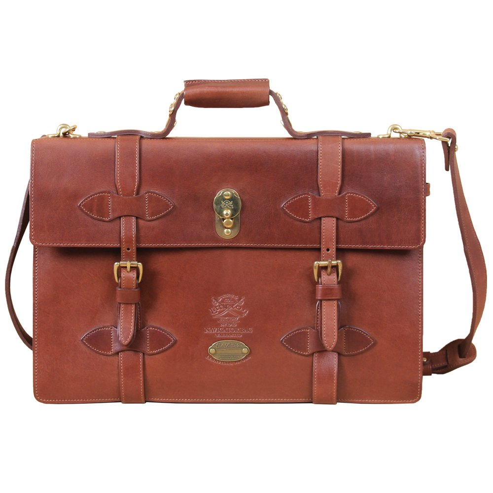 Leather Navigator Briefcase Laptop Expandable Bag Brown Messenger USA No. 1943
