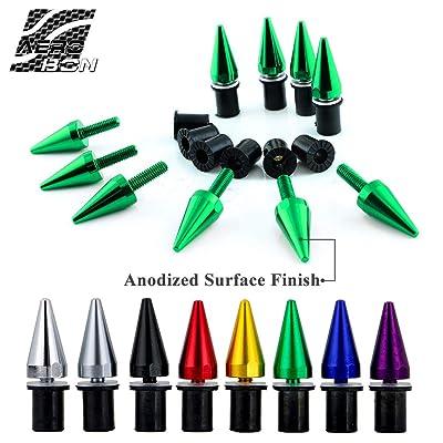 AeroBon 10 Pieces Aluminum Spike Motorcycle Windscreen Bolts/Windshield Screws (Green): Automotive