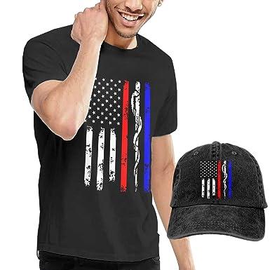 e05ff0620bb42 Amazon.com  Police   Firefighter   EMT Flag Mens T Shirt Tees and Baseball  Cap Combo Black  Clothing