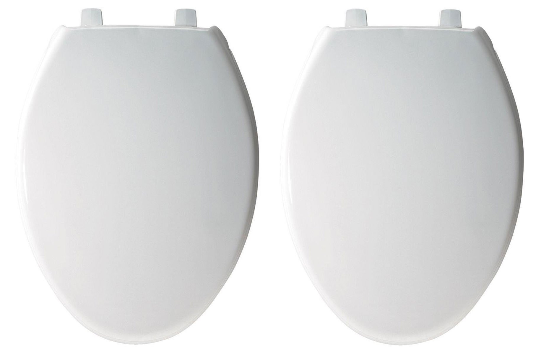 Bemis 7800TDG000 Plastic Toilet Seat, Elongated, White (2 Pack) by Bemis