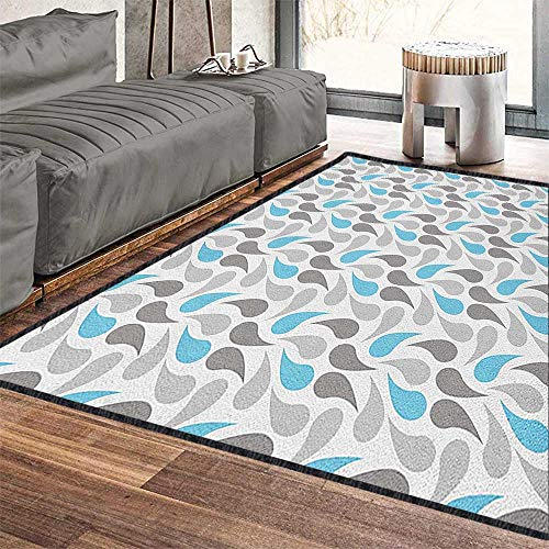 Geometric Anti-Skid Area Rug,Iran and Ottoman Motifs Pale Colors Vintage Ancestral Ornamental Pattern Suitable for Children to Play Sky Blue Grey White 71