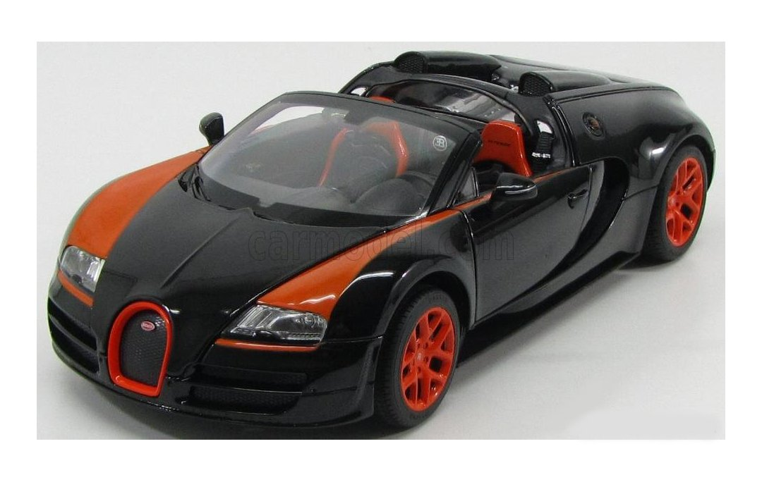 Carmel 1:14 Bugatti Grand Sport Vitesse USB Charger 2.4Ghz with Lights Rechargeable Battery, Black by Carmel