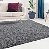 iCustomRug Cozy and Soft Solid Shag Rug 9X12 Charcoal/Dark Grey Ideal to Enhance Your Living Room and Bedroom Decor